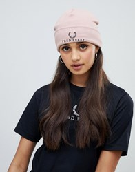 Fred Perry Jersey Beanie With Laurel Wreath Grey Pink