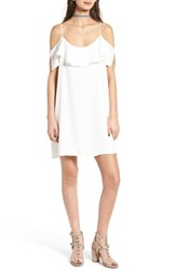 One Clothing Women's Ruffle Cold Shoulder Dress White