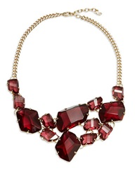 A.B.S. By Allen Schwartz Faceted Stone Bib Necklace Red Gold