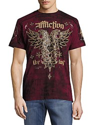 Affliction Graphic Printed Cotton Tee Burgundy