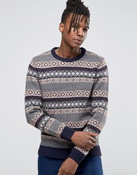 Selected Homme Crew Neck Knit In Fairisle Detail Navy