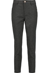 See By Chloe Flecked Cotton Blend Straight Leg Pants Gray