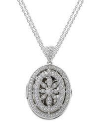 Giani Bernini Cubic Zirconia Floral Locket Pendant Necklace In Sterling Silver Only At Macy's