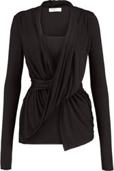 Bailey 44 Draped Stretch Jersey Top Black