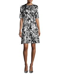 Lela Rose Ikat Fil Coupe Half Sleeve Dress Silver