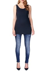 Women's Noppies 'Amsterdam' Scoop Neck Long Maternity Top Dark Blue