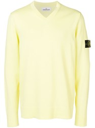 Stone Island V Neck Jumper Yellow