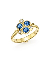 Temple St. Clair 18K Yellow Gold Sapphire And Diamond Trio Ring Blue White