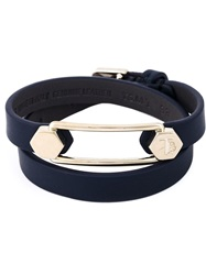 Tod's Metal Pin Wrap Bracelet Blue