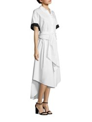 Tome Short Sleeve Cotton Dress White