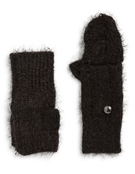 Calvin Klein Fuzzy Knit Fingerless Convertible Mittens Black