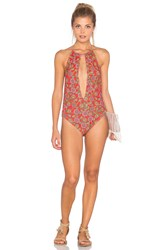 Motel Split One Piece Red