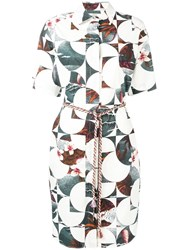 Odeeh Geometric Printing Shirt Dress White