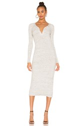 David Lerner Button Henley Midi Dress Light Gray