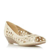 Head Over Heels Kosimo Laser Cut Out Wedge Sandals Gold