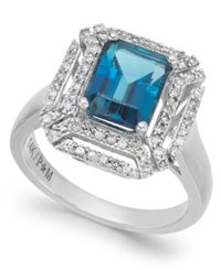 Macy's London Blue Topaz 2 5 8 Ct. T.W. And Diamond 1 3 Ct. T.W. Ring In 14K White Gold