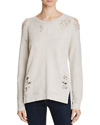 Joe's Jeans Bibiana Distressed Sweatshirt White Smoke