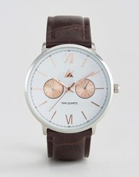 Asos Watch With Croc Effect Strap And Mixed Metal Case Brown