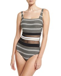 Gottex Regatta Metallic Stripe One Piece Swimsuit Black White Gold