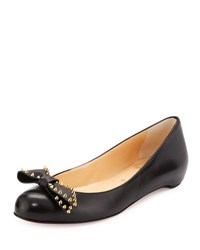Christian Louboutin Spike Bow Leather Red Sole Ballerina Flat Black