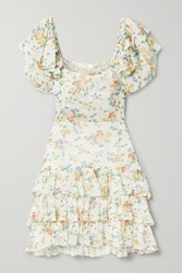 Loveshackfancy Kimbra Tiered Floral Print Silk Chiffon Mini Dress Off White