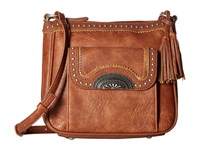American West Guns And Roses Crossbody W Secret Compartment Copper Cross Body Handbags Bronze