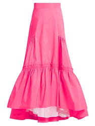 Peter Pilotto Tiered Taffeta Maxi Skirt Pink