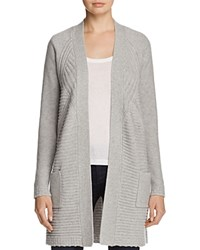 Bloomingdale's C By Knit Detail Open Cardigan 100 Exclusive Oxford Heather Gray