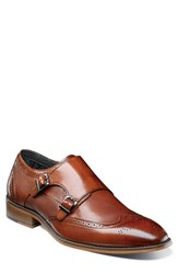Stacy Adams Lavine Wingtip Monk Shoe Chestnut Leather