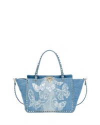 Valentino Rockstud Medium Butterfly Washed Denim Tote Bag Light Denim