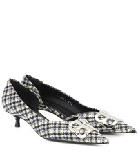 Balenciaga Bb Checked D'orsay Pumps Blue