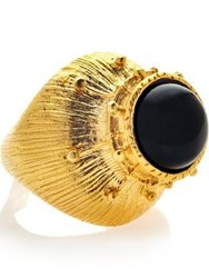 Ottoman Hands Onyx Statement Ring Gold Plated