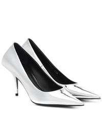 Balenciaga Square Knife Mirrored Pumps Silver