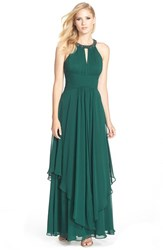 Petite Women's Eliza J Embellished Tiered Chiffon Halter Gown Green