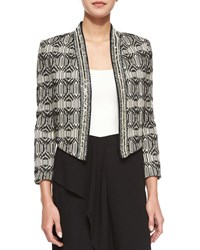 Haute Hippie Tribal Print Chevron Embellished Jacket Swan Black