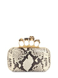 Alexander Mcqueen Skull Ring Python Print Leather Clutch Roccia