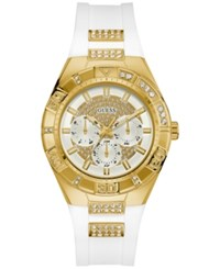 Guess Women's Crystal Accent White Silicone Strap Watch 40Mm U0653l3