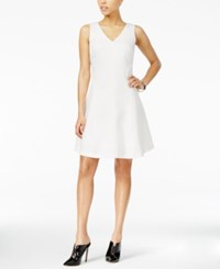 Armani Exchange Textured Fit And Flare Dress Snow