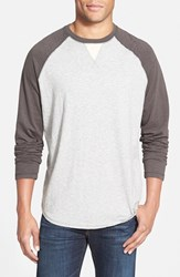 Men's True Grit Long Sleeve Raglan Crewneck T Shirt Vintage Black Heather Grey