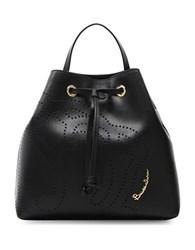 Braccialini Patterned Leather Backpack Black