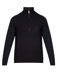 Maison Martin Margiela Funnel Neck Cotton And Wool Blend Sweater Navy