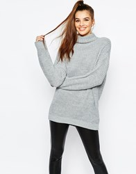 Daisy Street Chunky Roll Neck Jumper Curved Hem Grey