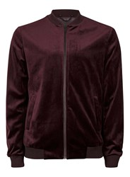 Topman Red Burgundy Velvet Smart Bomber Jacket