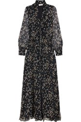 Paul And Joe Claudia Floral Print Silk Chiffon Maxi Dress Navy