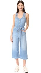 7 For All Mankind Culotte Jumpsuit Luxe Coastal Blue