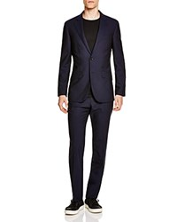 Hardy Amies Tonal Check Slim Fit Suit Navy