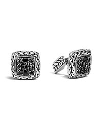 John Hardy Men's Classic Chain Square Cufflinks With Black Sapphires Black Silver
