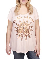 Lucky Brand Plus Graphic Print Tee Pink