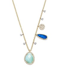 Meira T 14K White And Yellow Gold Larimar Opal And Diamond Necklace 19 Aqua White