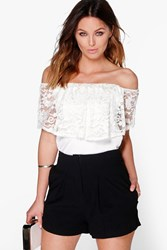 Boohoo Pastel Lace Off The Shoulder Top Cream